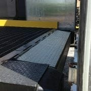 edge of dock leveler from truck view