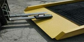 mobile yard ramps can be moved with forklifts