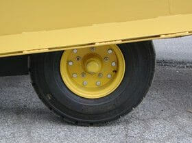 wheels on a mobile yard ramp