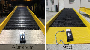 side by side aluminum and steel yard ramps in florida