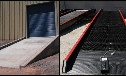 concrete ramp next to a yard ramp