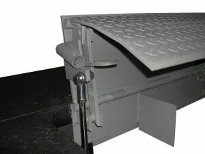 Copperloy® hydraulic edge of dock levelers shown at loading dock